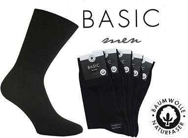 5er Pack Socken von Star-Socks Basic Men Schwarz 100% Baumwolle