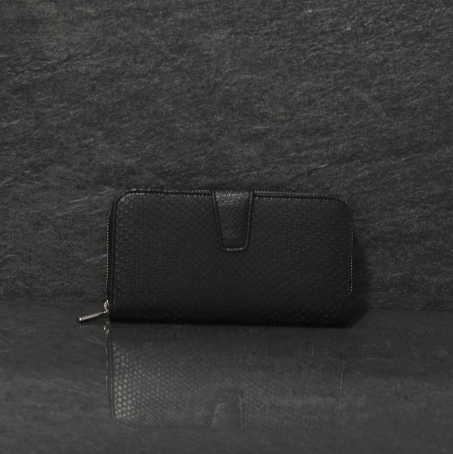 Fausto Colato große Geldbörse / Portemonnaie aus Python-Schlangenleder das Platzwunder in schwarz