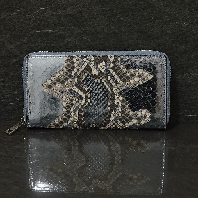Ralph Gladen Pythonleder Zippwallet Schlangenleder Portemonnaie in blaumetallic / natur