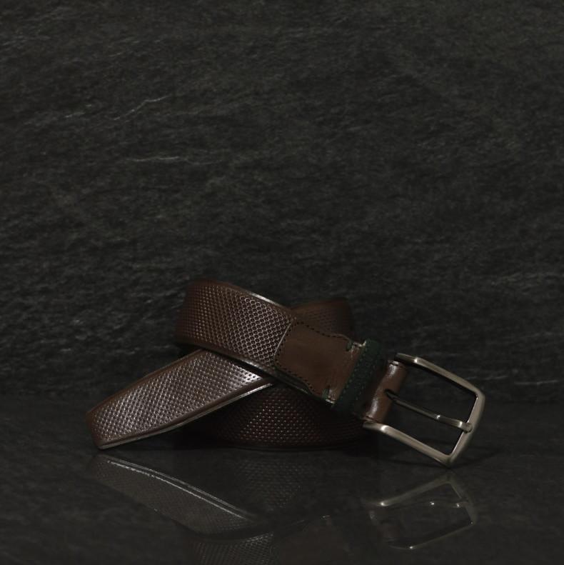 Possum brauner Leder Gürtel mit Strucktur und grüner Kante in  4,0 cm