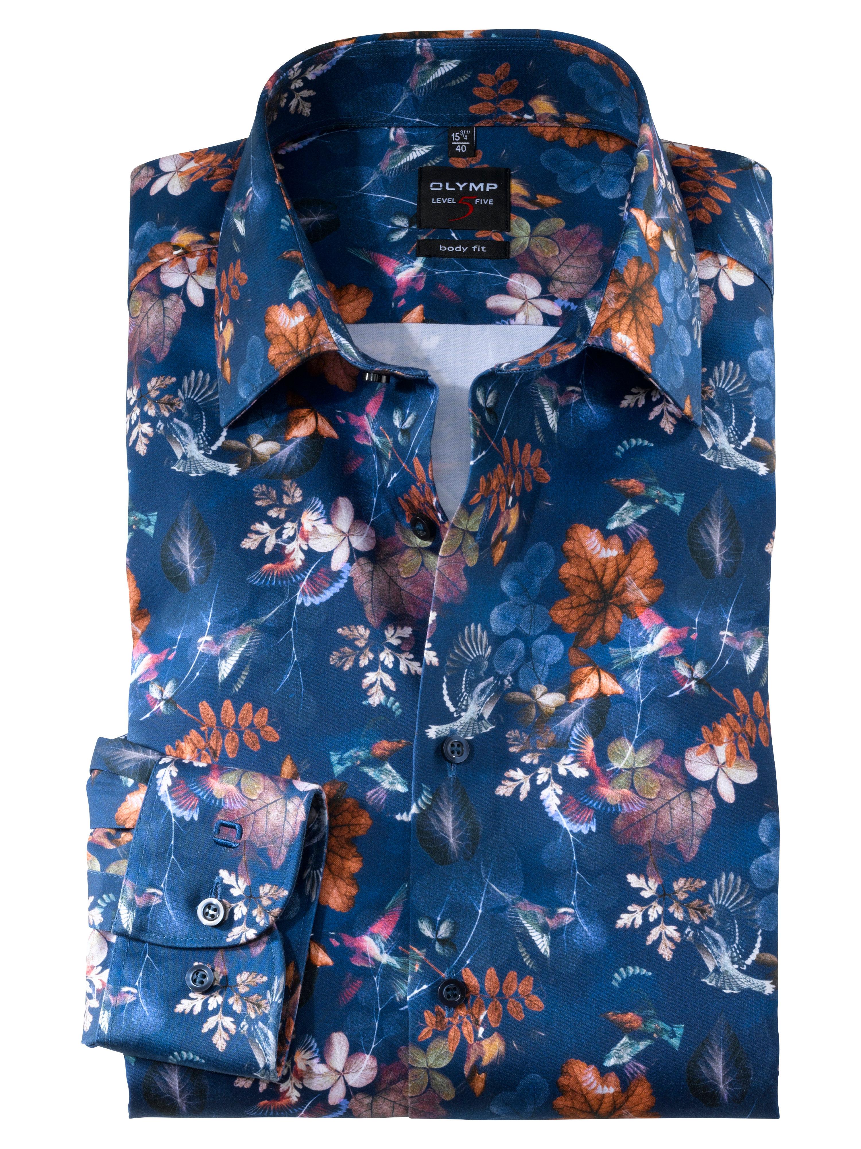OLYMP Level Five, body fit, Businesshemd mit Pflanzen- und Vogel-Motiven, New York Kent, Blau