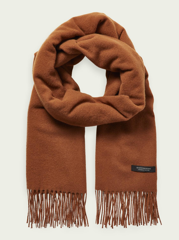 Scotch&Soder Oversize Schal mit Fransen aus Wollmischung unisex