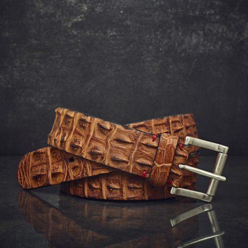 Fausto Colato Krokodilleder-Gürtel Sonderbreite 4,5 cm cognac