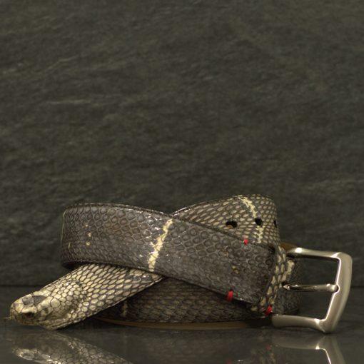 Fausto Colato Schlangenleder-Gürtel Cobra mit Kopf Breite 4,0 cm
