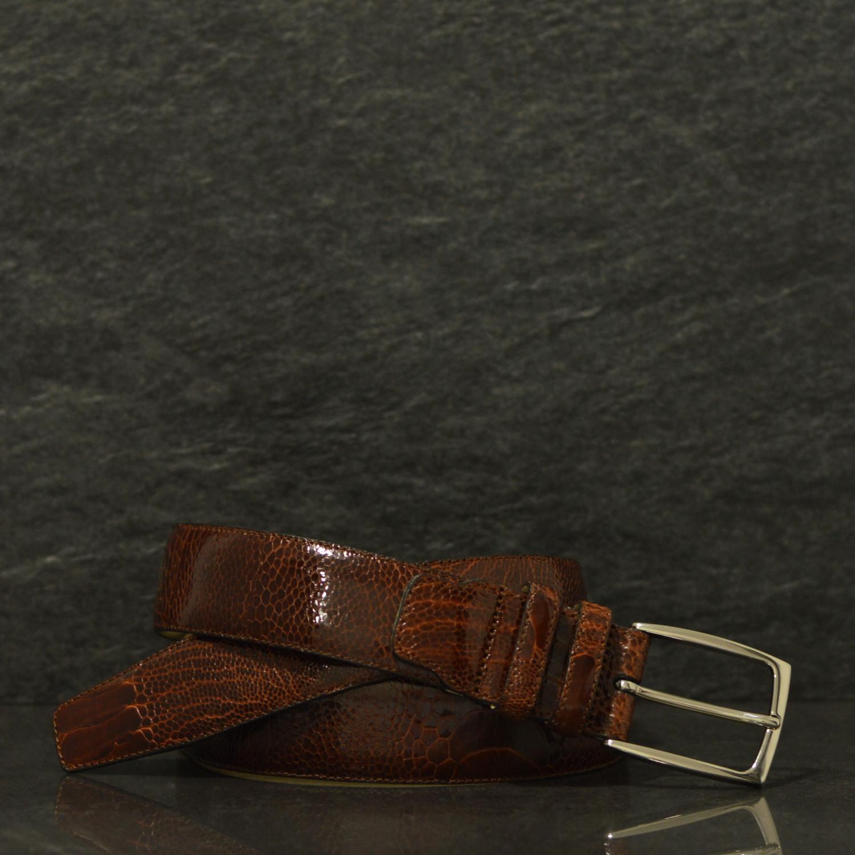 Possum Reptilienleder-Gürtel Strauß Fuß/ Ostich Breite 3,5 cm Braun