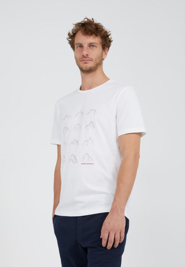 Armedangels  JAAMES MANY MOUNTAINS T-Shirt aus 100% Bio-Baumwolle weiss