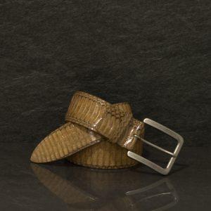 Ralph Gladen Schlangenleder-Gürtel Cobra / Kobra Sonderbreite 4,5 cm beige