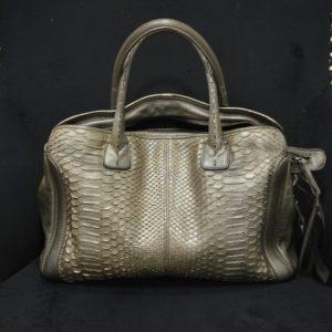 Reptile´s House Schlangenleder-Tasche Python Shopper in Zinco Grau