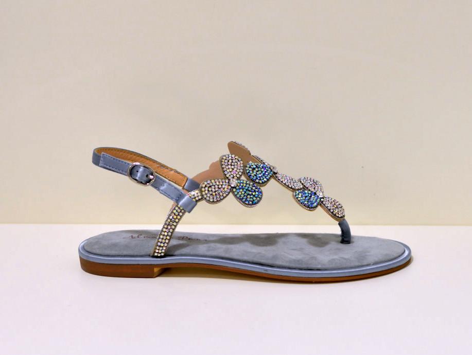 Alma en Pena Leder Sandale mit beklebten Steinen