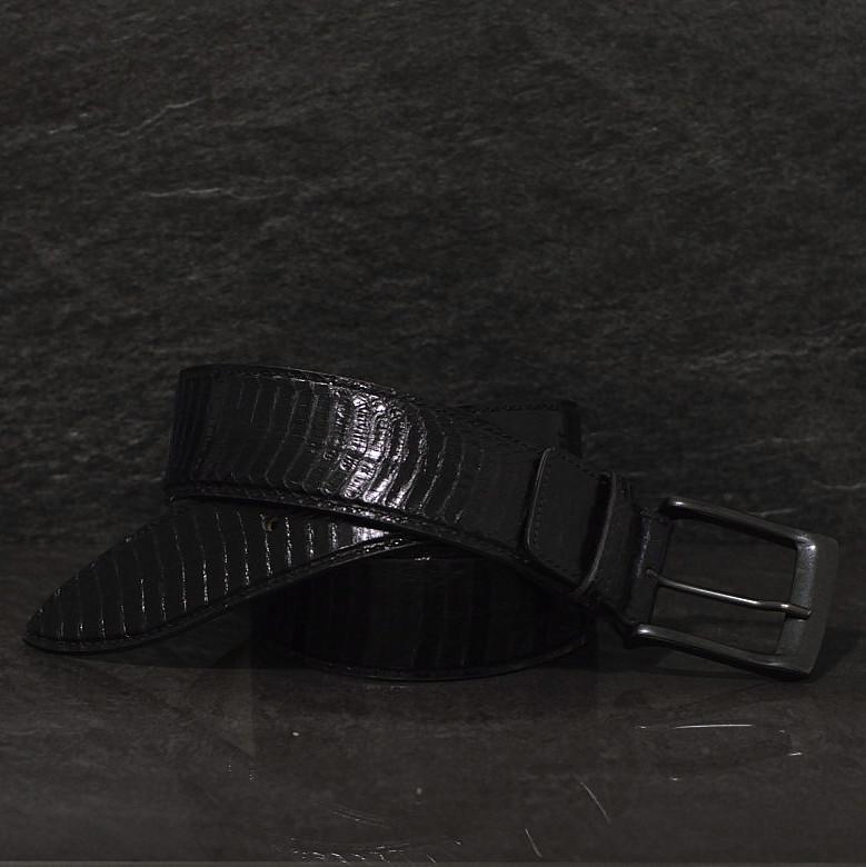 Ralph Gladen Schlangenleder-Gürtel Cobra / Kobra Sonderbreite 4,5cm schwarz