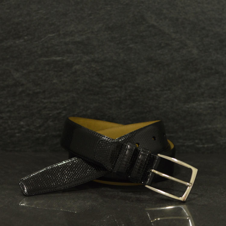 Possum Reptilienleder-Gürtel Lizard Breite 3,5 cm schwarz