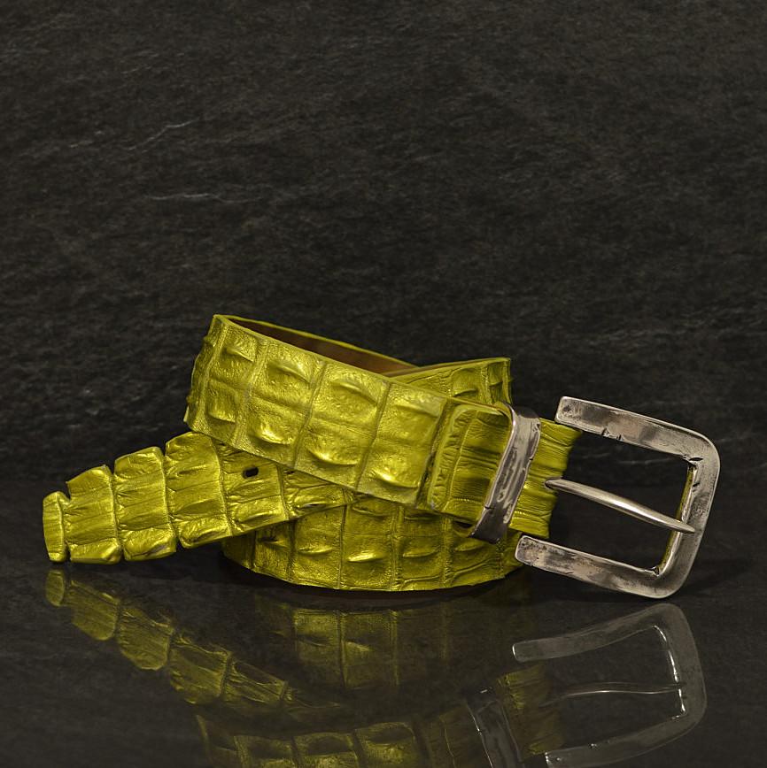 Ralph Gladen Krokodilleder-Gürtel Flosse Sonderbreite 4,5 cm Limeted in metellicgelb