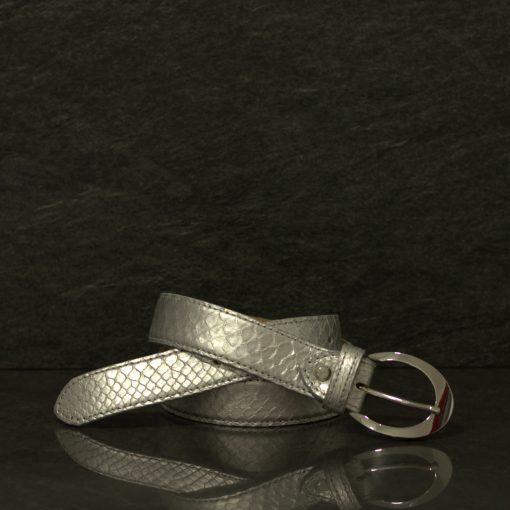 MGM Schlangenleder-Gürtel Python Breite 2,5 cm Silber