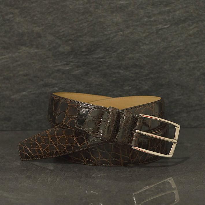 Possum Krokodilleder-Gürtel Crocodile Breite 3,5 cm braun