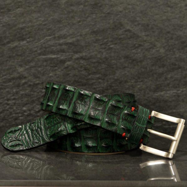 Fausto Colato Krokodilleder-Gürtel Crocodile Sonderbreite 4,5 cm Grün/ Verde