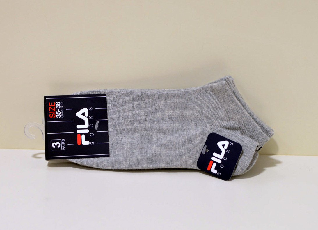 3er Pack FILA Unisex Sneaker Socken grau mit Fernsen Logo