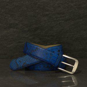 Fausto Colato Schlangenleder-Gürtel Python Breite 4,0 cm Handbemalt Wasserblau