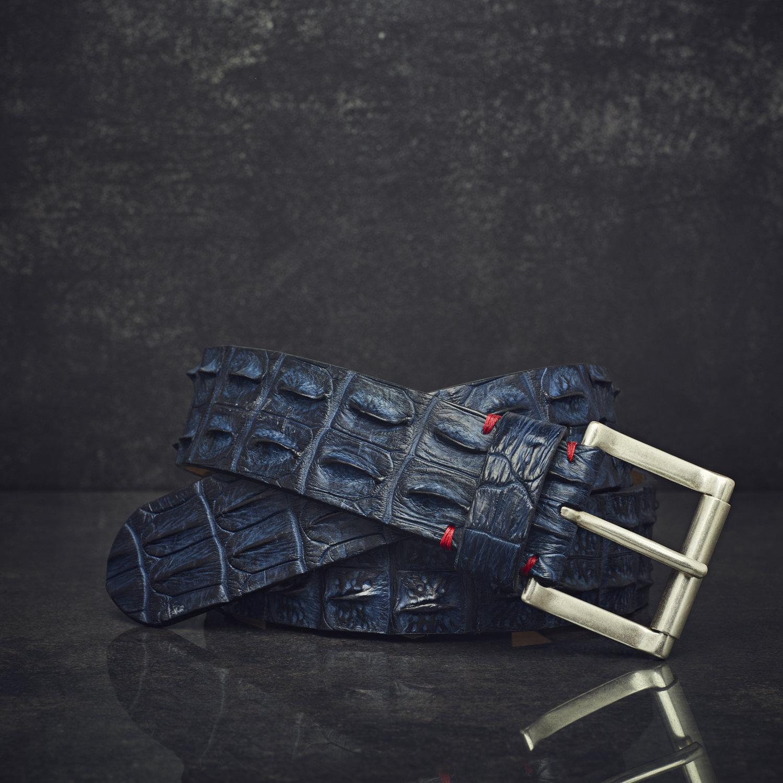 Fausto Colato Krokodilleder-Gürtel Sonderbreite 4,5 cm blau