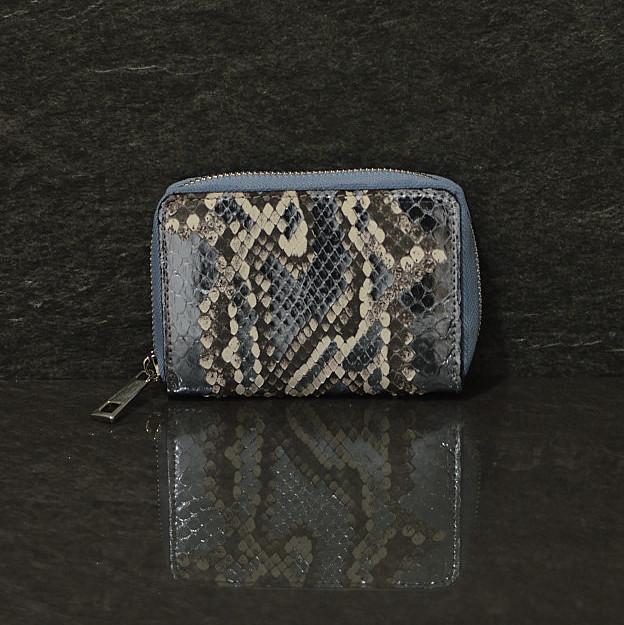 Ralph Gladen Pythonleder Small Wallet Schlangenleder Portemonnaie in blaumetallic