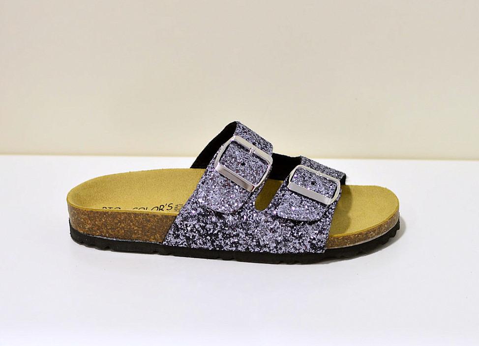 Bio Color´s Damensandale Zweiriemer Sandale  mit glizernder Oberfläche