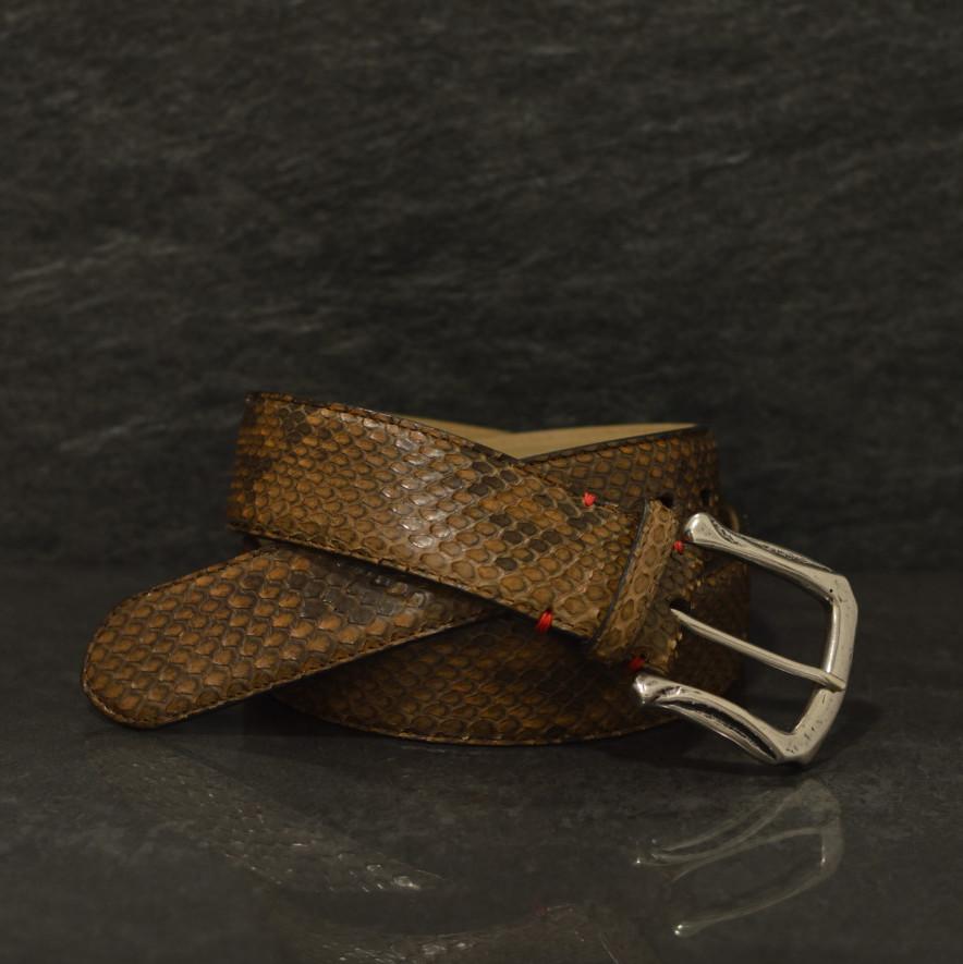 Fausto Colato Schlangenleder-Gürtel Python Breite 4,0cm Haselnussbraun