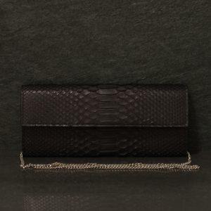 Ralph Gladen Schlangenleder Clutch mit Kette aus Python-Leder in schwarz