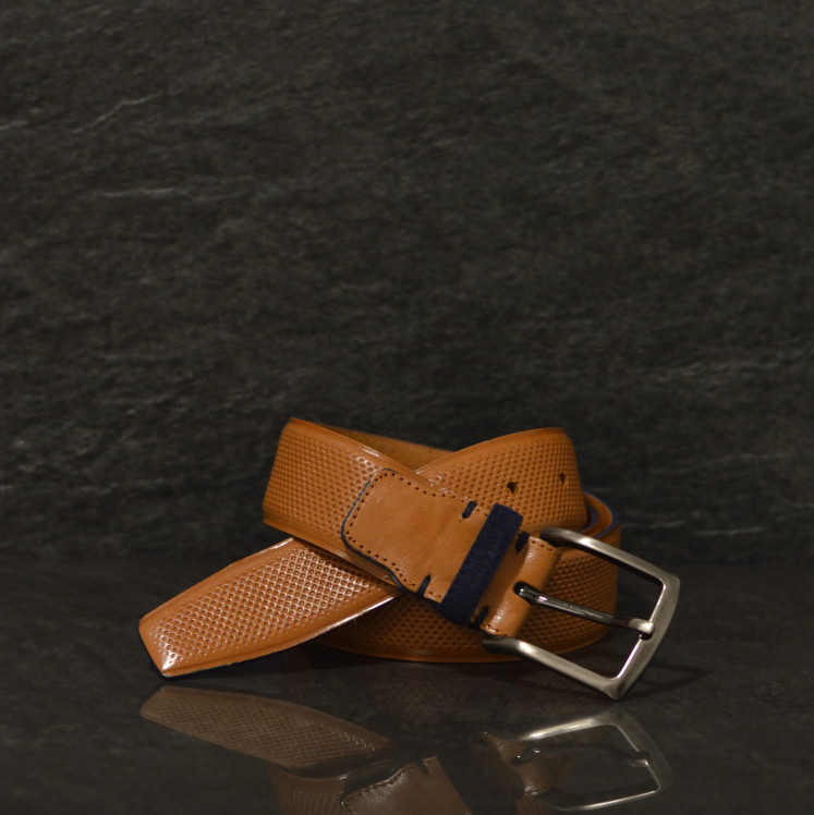 Possum cognac Leder Gürtel mit Strucktur und blauer Kante in 4,0 cm