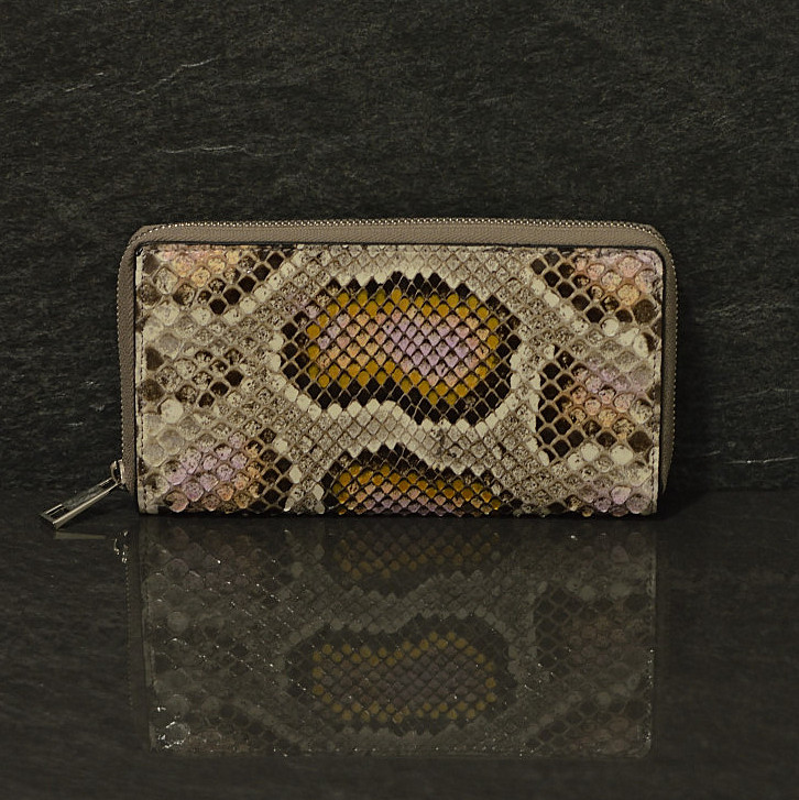 Ralph Gladen Pythonleder Zippwallet Schlangenleder Portemonnaie in natur / rose handbemahlt