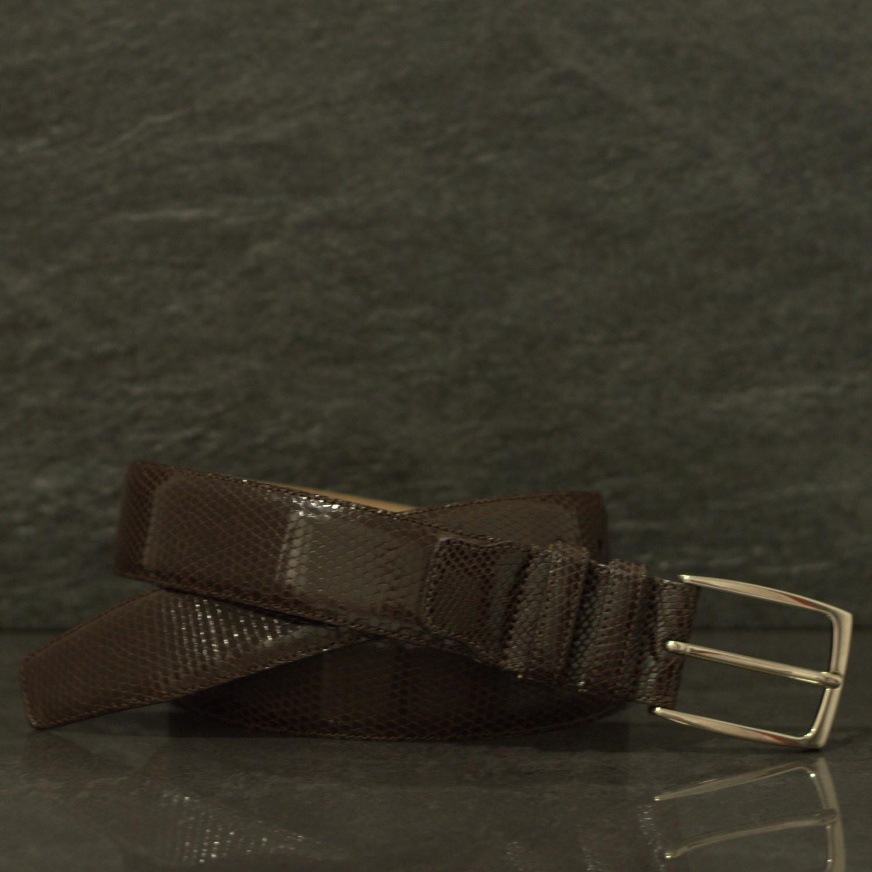 Possum Reptilienleder-Gürtel Eidechse/ Leguan Breite 3,5 cm Braun