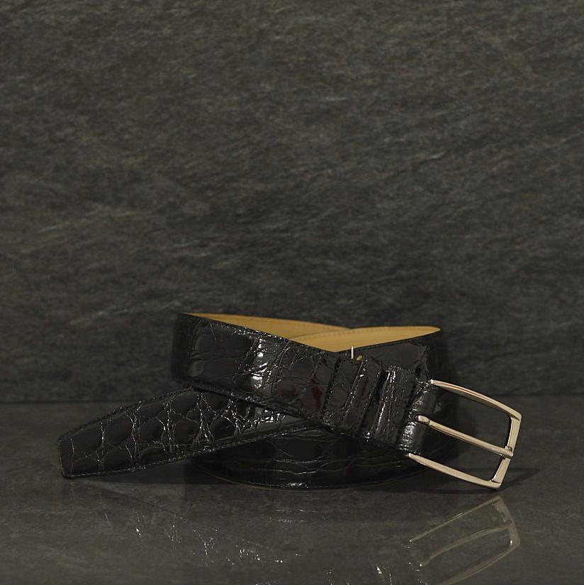 Possum Krokodilleder-Gürtel Crocodile Breite 3,5 cm schwarz