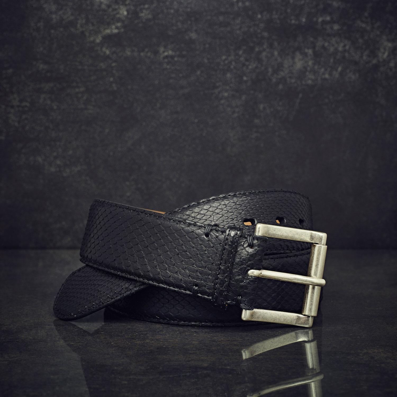 Fausto Colato Schlangenleder-Gürtel Python Sonderbreite 4,5 cm schwarz