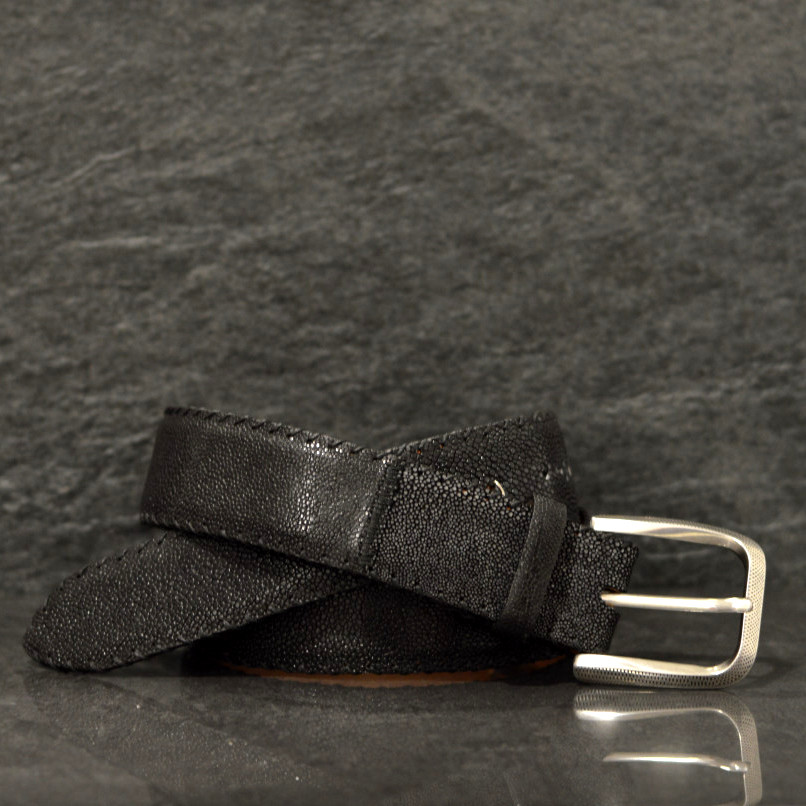 Reptile´s House Rochenleder-Gürtel Galuchart 4,0 cm schwarz