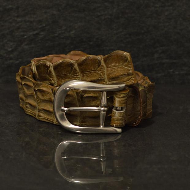 Ralph Gladen Krokodilleder-Gürtel Flosse mit natürlichem Verlauf