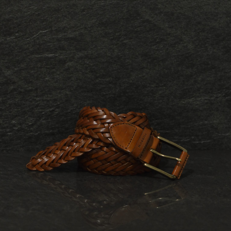 Possum geflochtener Leder Gürtel Breite 4,0 cm cognac