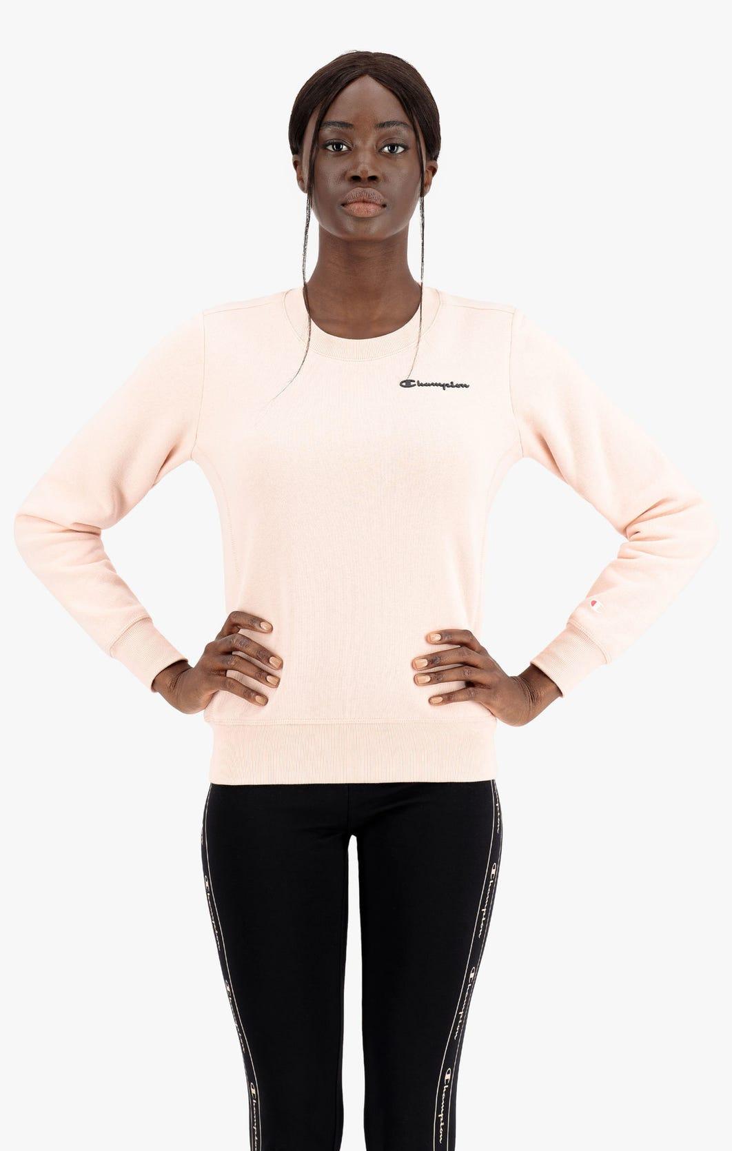 Champion Sweatshirt mit kleinem Printlogo-Schriftzug rose