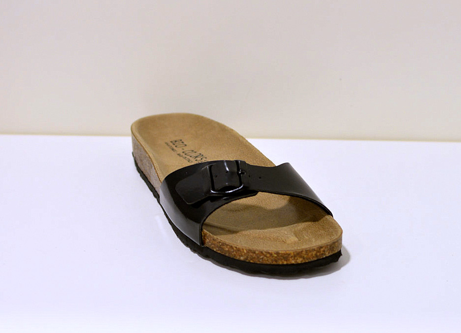 Bio Color´s Damen Sandale Einriemer in scgwarz (Lack)