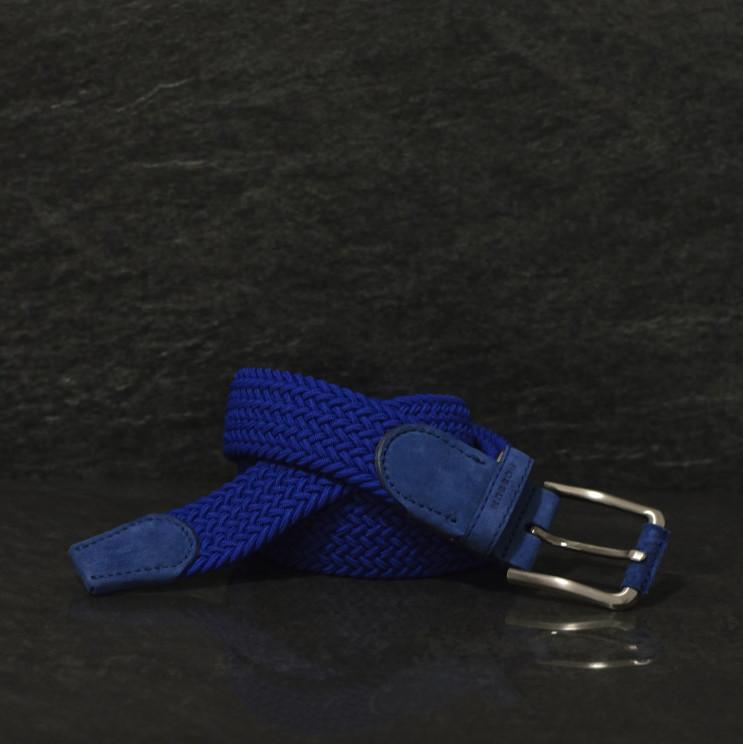 Possum Flechtgürtel mit stilvollen Lederapplikationen in Kobaltblau