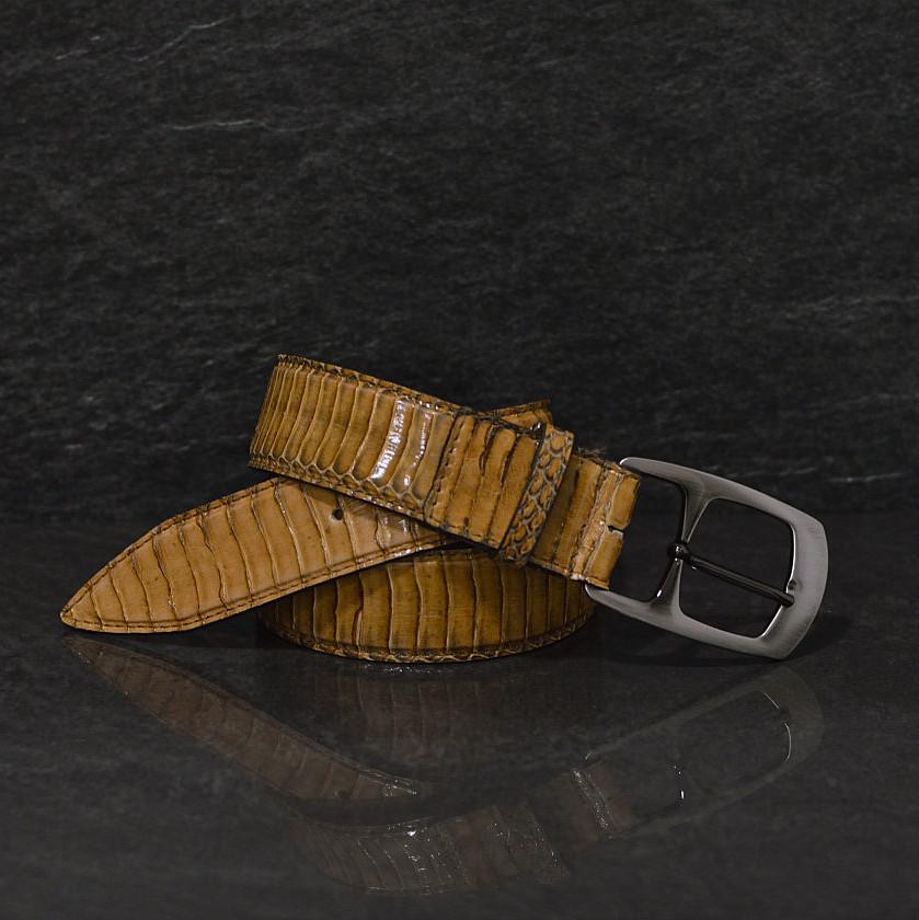 Ralph Gladen Schlangenledergürtel Cobra / Kobra Breite 3,5 cm beige