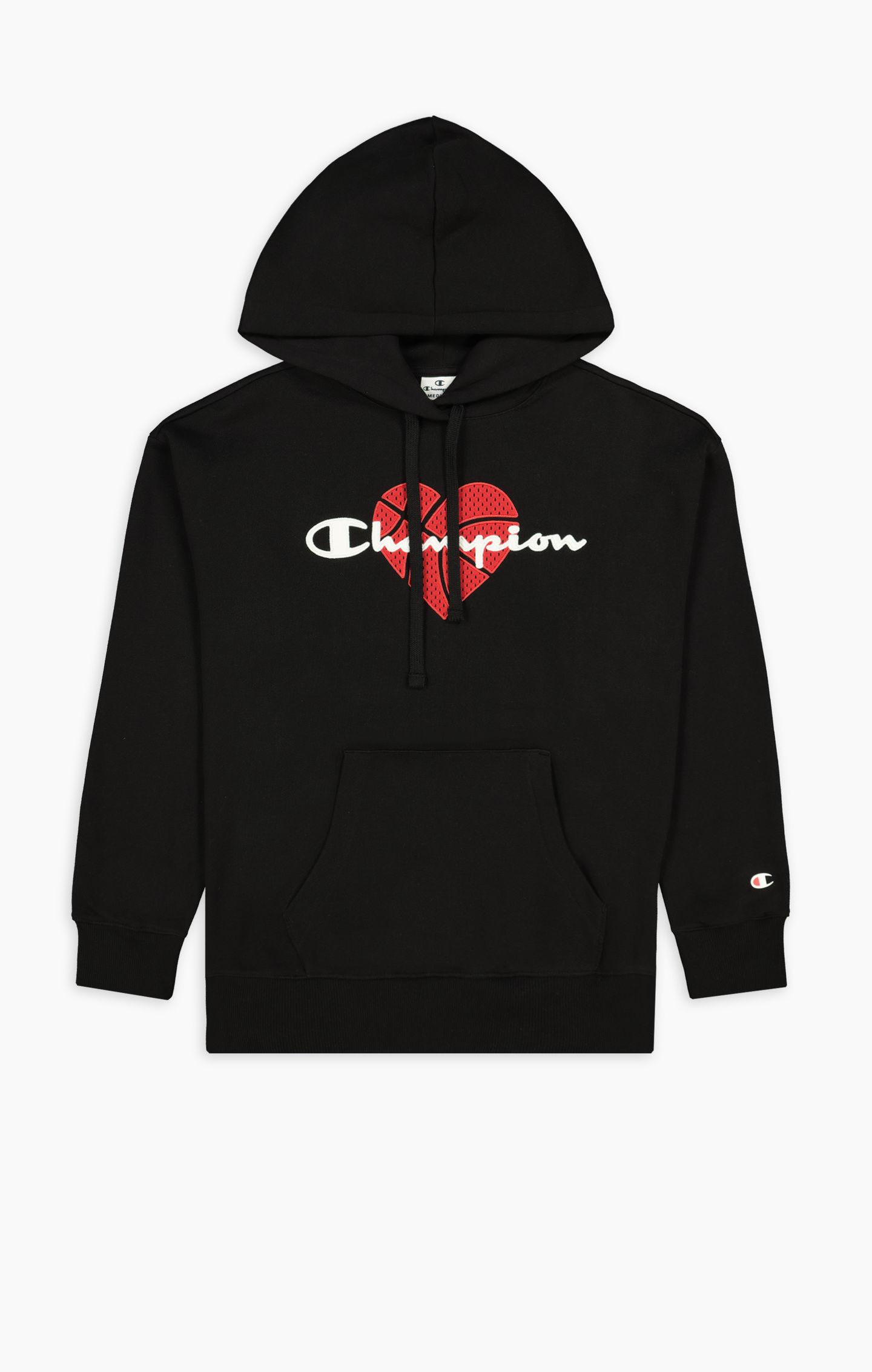 Champion Sweatshirt in schwarz mit Kapuze und rotem Herz