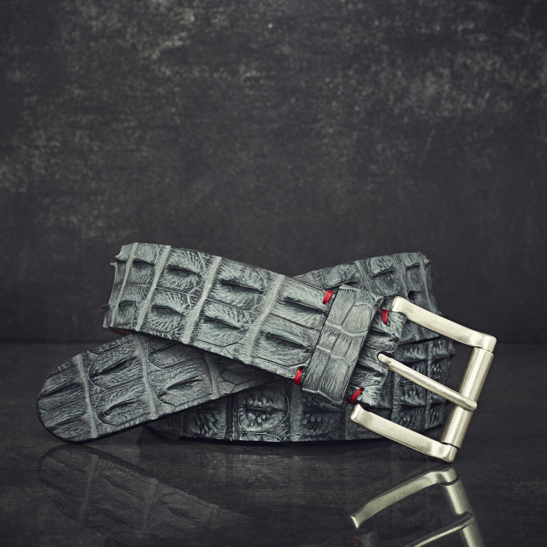 Fausto Colato Krokodilleder-Gürtel Sonderbreite 4,5 cm grau