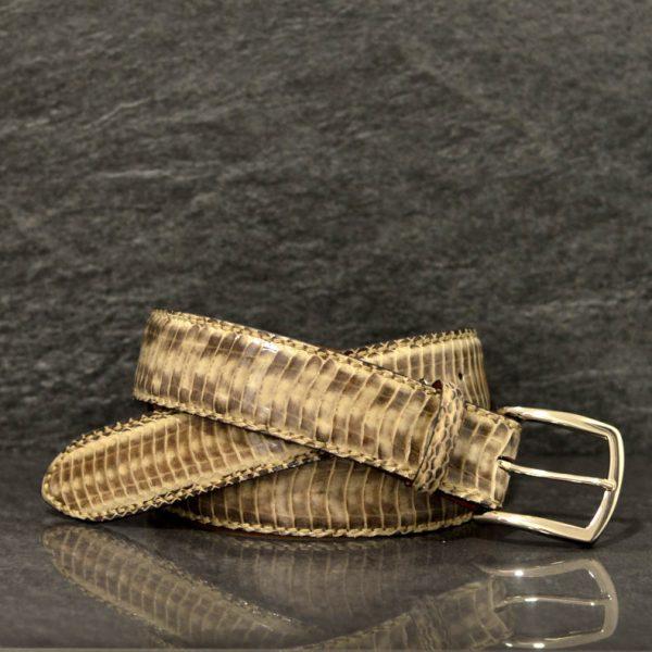 Reptile´s House Schlangenleder-Gürtel Elaphe Breite 4,0 cm Beige/ Sand