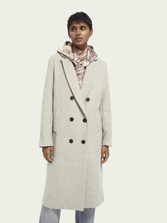 Scotch&Soda Figurbetonter, zweireihiger Mantel aus Wollmischung