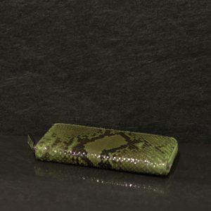 Fausto Colato große Geldbörse / Portemonnaie aus Python Schlangen Leder in schimmernden grün