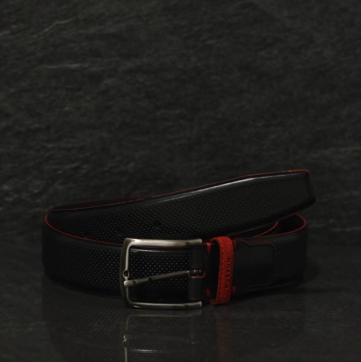 Possum schwarzer Leder Gürtel mit Strucktur und roter Kante in 4,0 cm