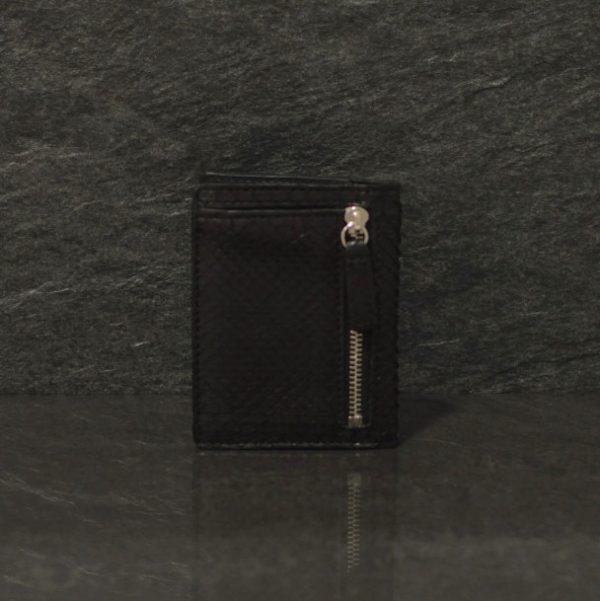 Fausto Colato Schlangenleder- Python Geldbörse mini Zip Wallet schwarz