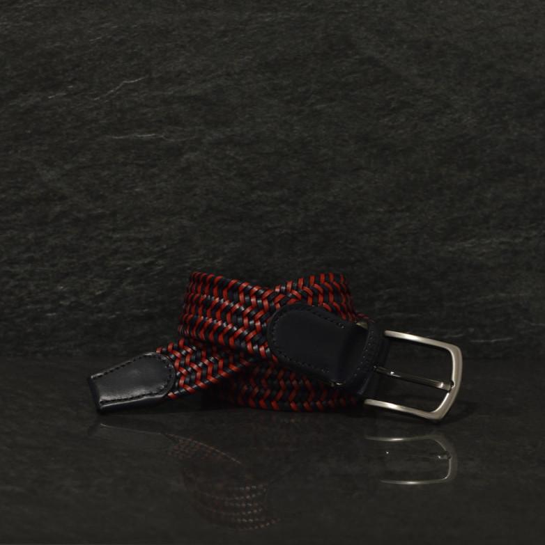 Possum geflochtener Leder Gürtel Breite 4,0 cm in schwarz / rot