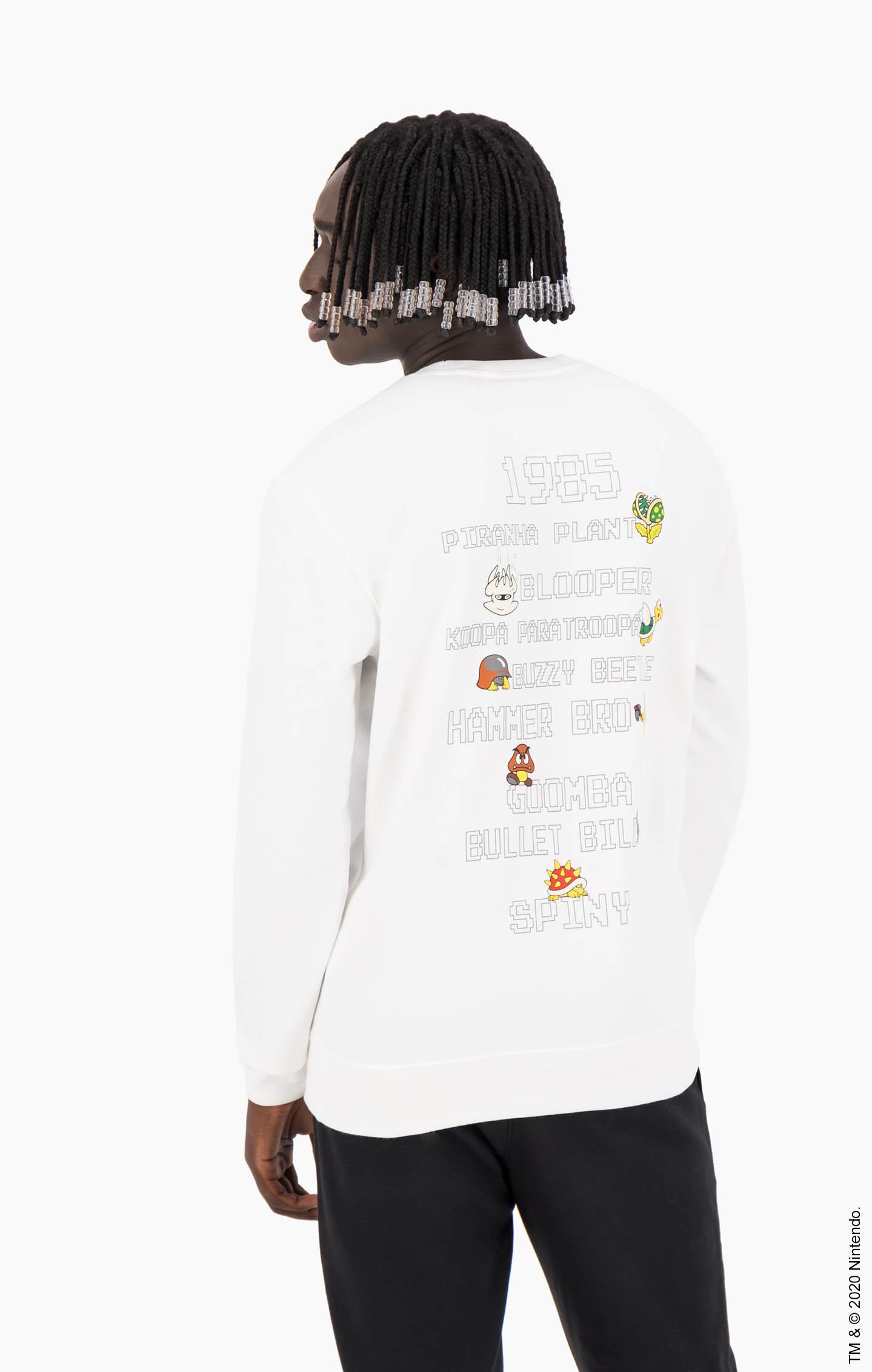 Champion x Super Mario Bros. Unisex-Sweatshirt in Jubiläumsedition weiß