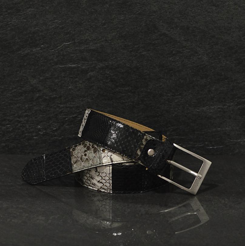 MGM Schlangenledergürtel Patchwork in natur / schwarz / grau Breite 4,0 cm