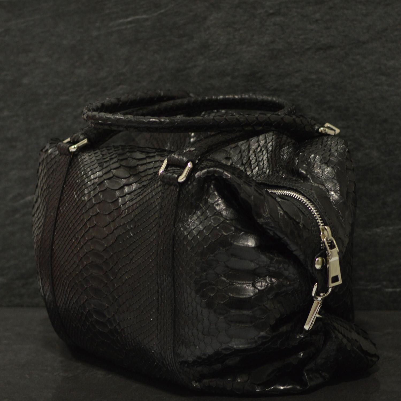 Fausto Colato Schlangenleder-Tasche Python Shopper Schwarz
