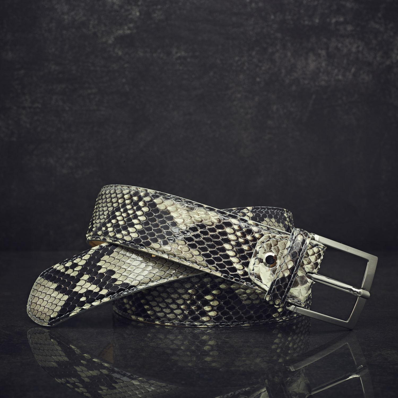MGM Schlangenleder-Gürtel Python Breite 4,0 cm Diamant (glänzendem Finish) naturbelassen